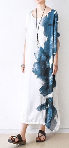 2017 white summer linen dresses asymmetric print oversize maxi dress unique casual gowns