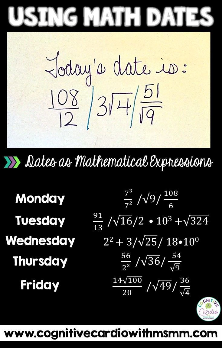 Take a look at this weblog put up for concepts for utilizing the date to encourage extra math thi…