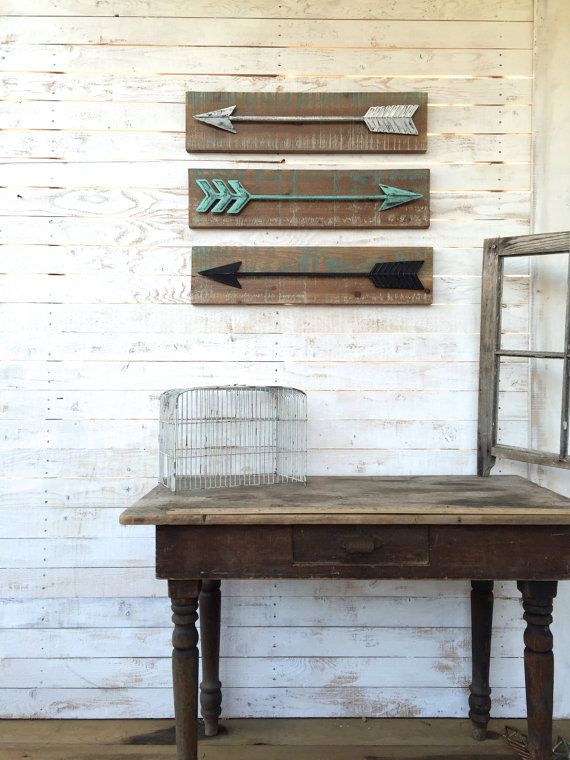 Display these unique, rustic arrows as the perfect accent in your home. These arrows have a distressed wood base with a sturdy, high quality metal