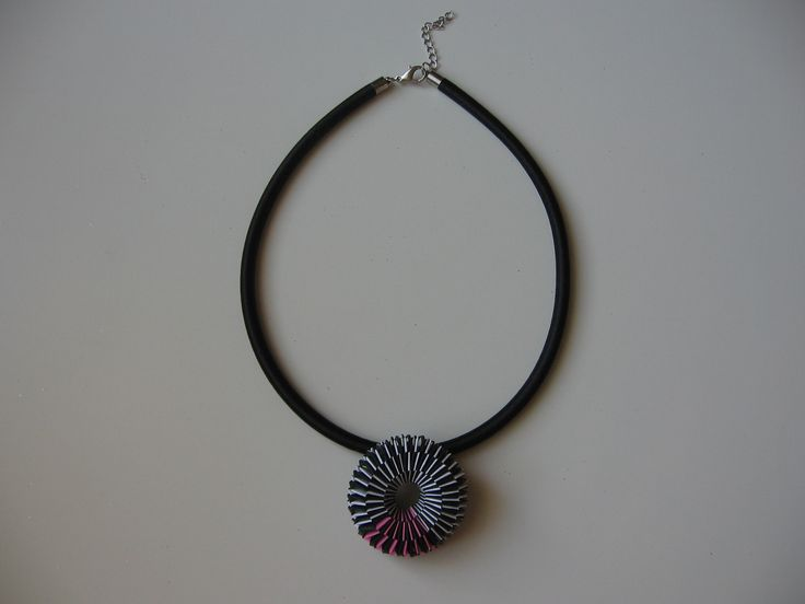 necklace with woven paper pendant