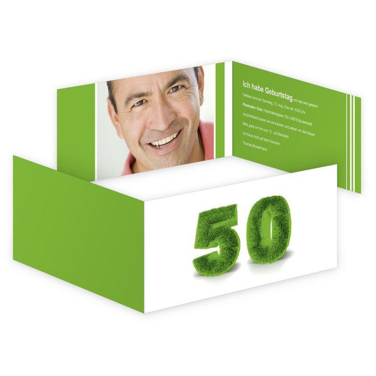 Designvorlage   Geburtstagseinladung Als Klappkarte Din Lang Quer Zum  50.Geburtstag. | Online