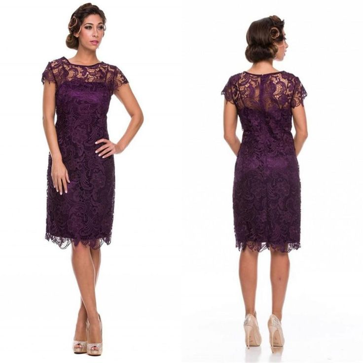 2015 lace dress purple knee length mother of the bride for Purple plus size dresses for weddings