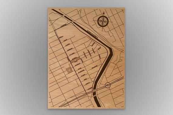 Urbanwood Laser Etched Wood Map Posters from $100.00