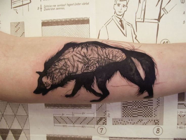 Illusion: Mico Goldobin has a variety of influences in his tattoo art from vintage to spiritualism, and it looks as if the artist is still exploring different techniques and styles. http://illusion.scene360.com/art/48829/goldobins-werewolf/ #tattoo #tattoos