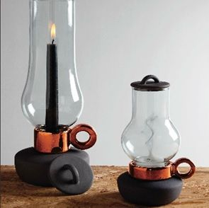 copper and black. nice combination. Candle holder.