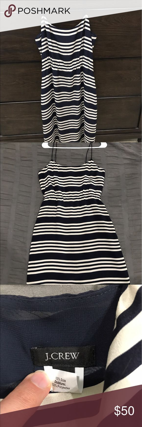 J Crew dress Cute and festive navy striped dress. Perfect length and great on own or layered under a sweater J. Crew Dresses