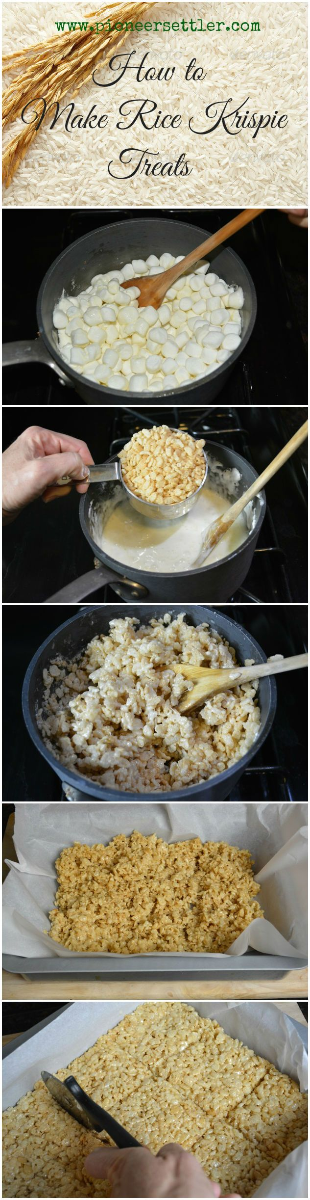 How to Make Rice Krispie Treats | A super yummy recipe that is so easy to make, so perfect for trick or treat or even Christmas gifts!  Step by step photo tutorial, recipe and instructions for my favorite breakfast food turned into a dessert.  Pioneer Settler | Best Homemade Recipes and Food | Homesteading & Self Reliance | #pioneersettler | pioneersettler.com