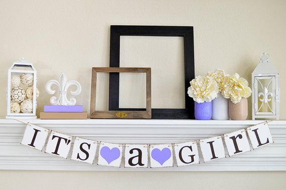 ITS A GIRL Banner, Baby Shower Decorations, It's a Girl Sign, Photo Prop Gender Announcement