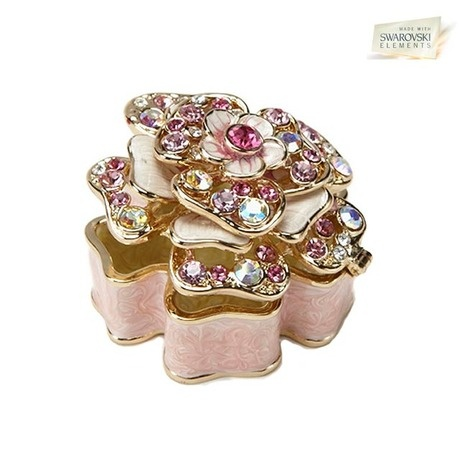 Swarovski Elements III Vanity Flower Jewelry Box - Pink