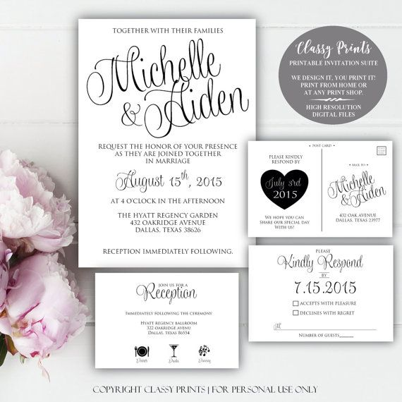 Congratulations on your upcoming wedding! This listing is for a Printable wedding invitation, with add on options for RSVP & Info/Reception