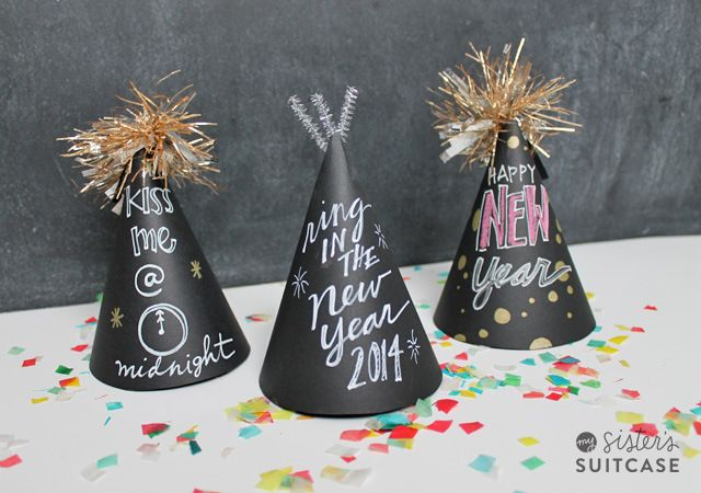 It's not too late. Make these chalkboard party hats for New Years Eve #partyhats #newyears