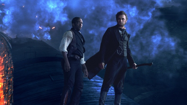 Abraham Lincoln (Benjamin Walker) and Will Johnson (Anthony Mackie) in one of the slick action sequences from Abraham Lincoln: Vampire Hunter.  I will admit that I read the book and am excited for this movie!! Abe RULES!! :): Hunters 2012, Anthony Mackie, Abraham Lincoln, High Low Dresses, Benjamin Walker, Lincoln Vampires, Vampire Hunter, Favorite Movie, Vampires Hunters