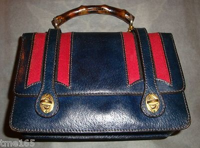 55e4ff0ad7bb07 Details about Vintage Blue Gucci Ladies Hand Bag From the 60's with