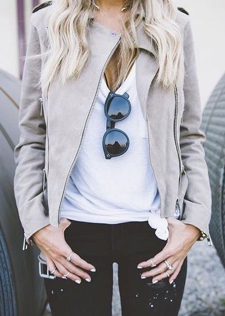 White T-Shirt and Cream Suede Jacket