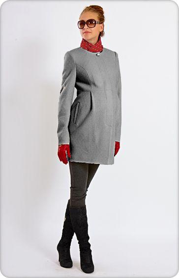 Весеннее (осеннее) пальто для беременных и после родов - арт.966 серое недорого интернет магазин KaraПУЗИК. Драповое…