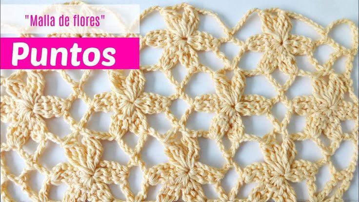 Puntos de crochet malla de flores