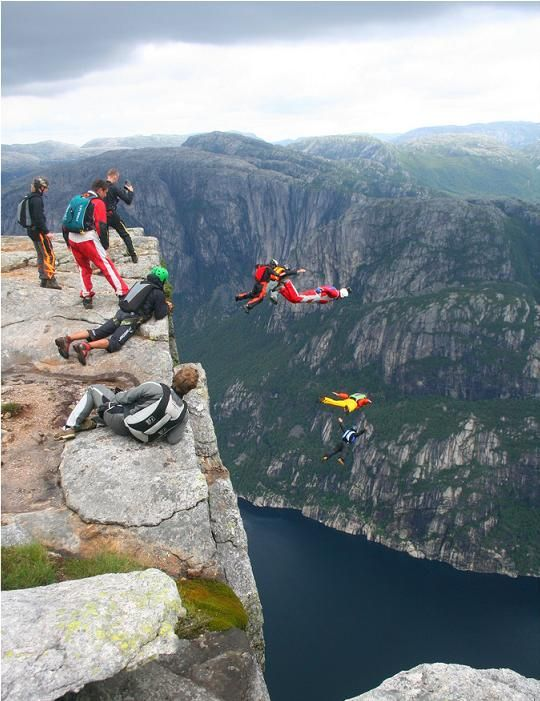 Kjerag or Kiragg is a Norwegian mountain, located in Lysefjorden, Rogaland. Its highest point is 1110 m (3,642 ft) above sea level, but its northern drop to Lysefjorden attracts most visitors. The drop is 984 m (3,228 ft) and is just by the famous Kjeragbolten, a 5 m³ (177 cubic ft) stone which is plugged between two rocks.
