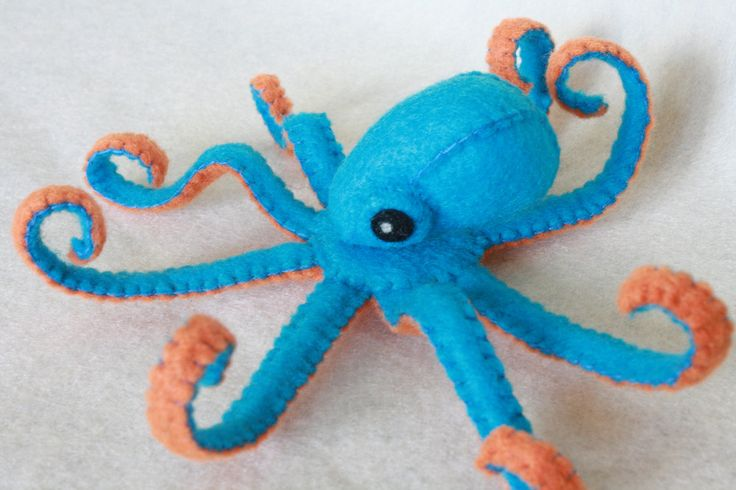 teeny teal and orange felt octopus RESERVED FOR by TallysBestiary