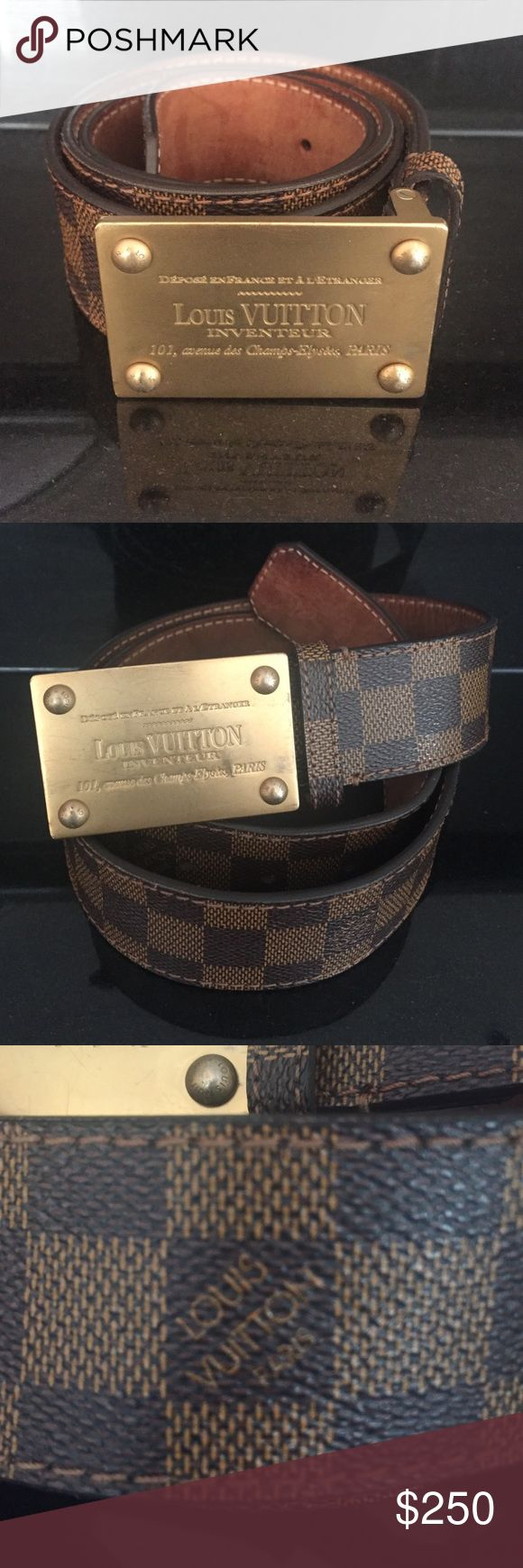 Louis Vuitton Belt Brown leather, Real with serial number, Rarely worn, In Good Condition Louis Vuitton Accessories Belts