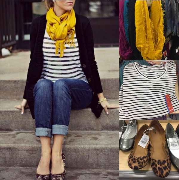 Fall outfit idea featuring mustard yellow scarf, striped shirt, jeans and leopard flats