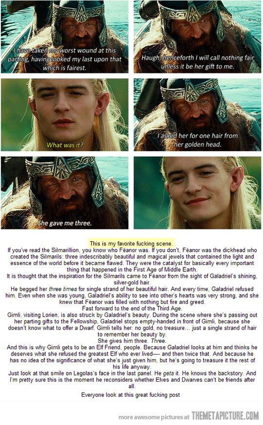 The significance of the three strands of hair Galadriel gave to Gimli- a beautiful story.
