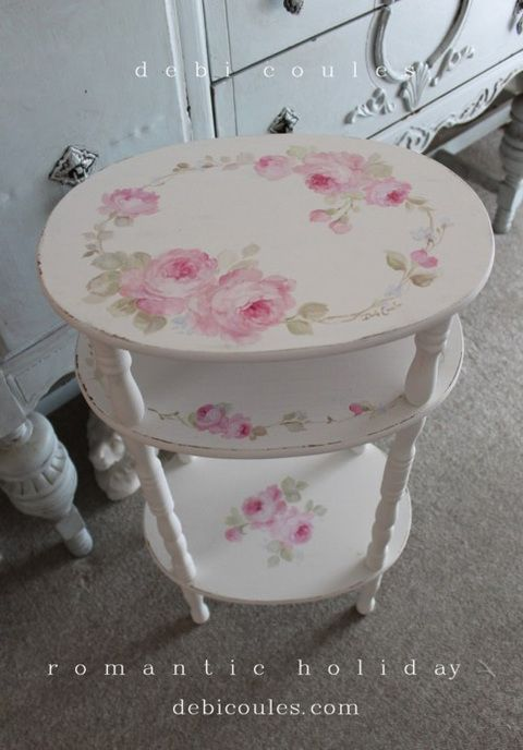 Shabby Vintage Roses Table - Debi Coules Romantic Art