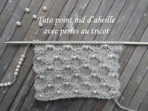 TUTO NID ABEILLE AVEC PERLES AU TRICOT Knitting with beads TEJER PUNTO CON PERLA…