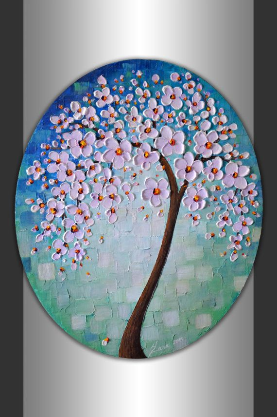 """ORIGINAL Abstract Art Textured Flowers Tree Painting Blue Green Landscape 24x20"""" Oval Canvas Wall Art Palette Knife Blooming Tree Artwork by ZarasShop"""