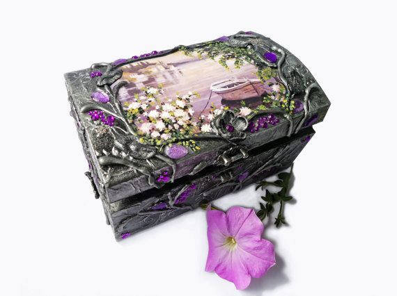 Hand decorated silver jewelry box. by flowerdeco on Etsy, $59.00
