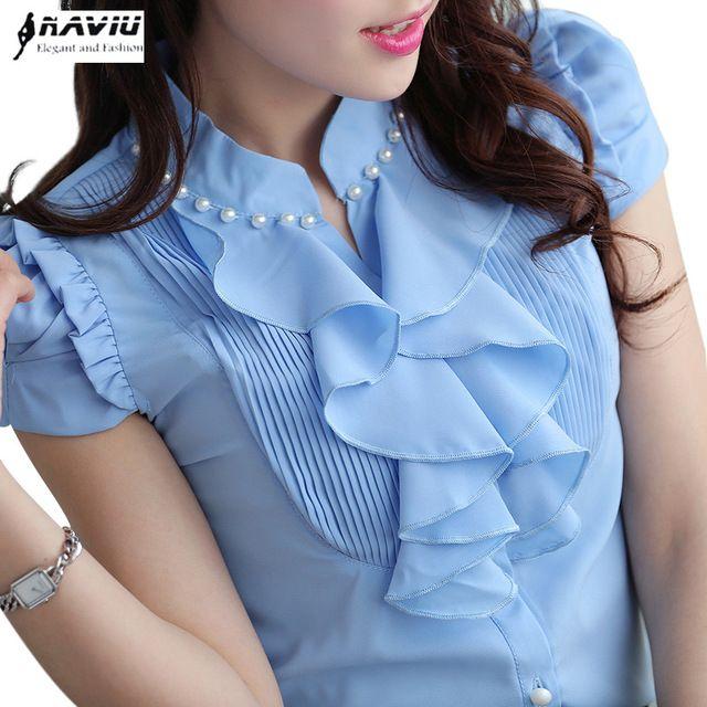 Mulheres moda vestuário Curto-manga Com Decote Em V camisa chiffon fino OL 2015 verão top feminino elegante Beading Ruffles blusa mais tamanho