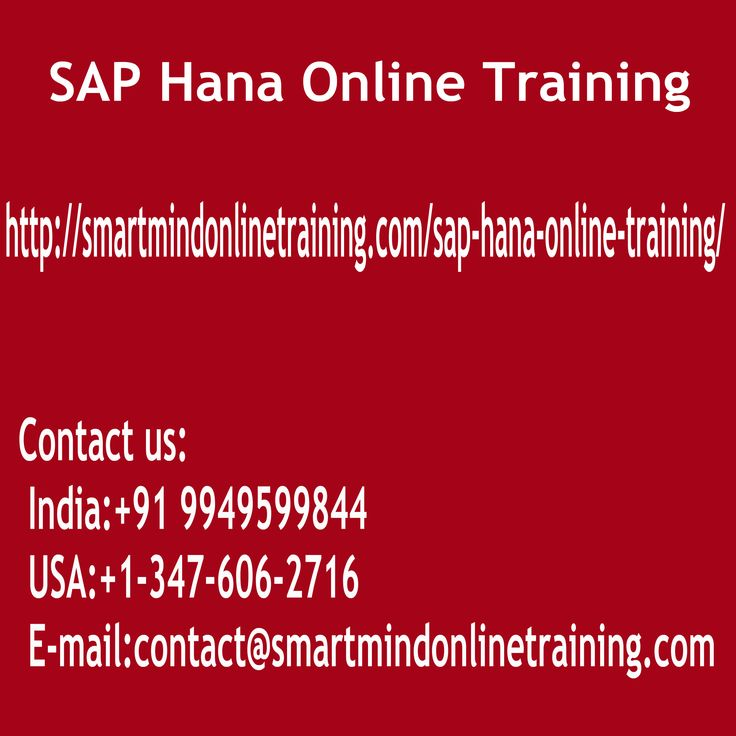 "SAP Hana Online Training Essentially SAP HANA is a data base. It handles several issues which are being confronted in the directories that are original through its In- theory SAP Hana Online Training.  <a href="" http://smartmindonlinetraining.com/sap-hana-online-training/"">SAP Hana Online Training </a>"