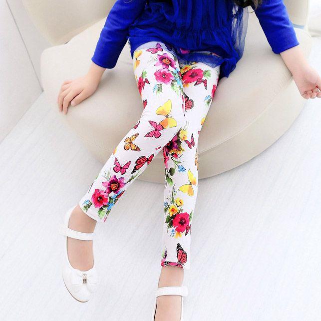 Perakende ücretsiz nakliye çocuk kız moda çiçek legging bebek güzel çiçek pantolon çocuklar sıska pantolon bebek kız giysileri