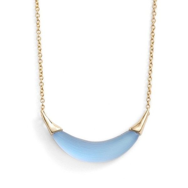 Alexis Bittar 'Lucite' Crescent Pendant Necklace ($100) ❤ liked on Polyvore featuring jewelry, necklaces, ice blue, pendant chain necklace, pendants & necklaces, lucite necklace, blue chain necklace and chain necklace