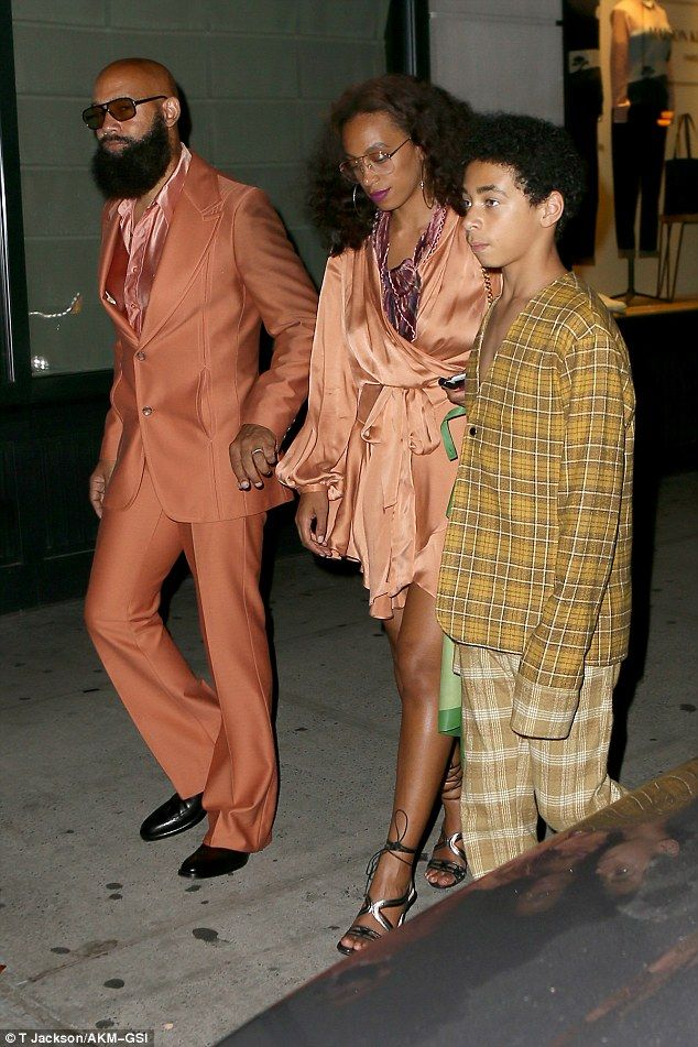 Her family: Solange was at the show with her husband Alan Ferguson and her 11-year-old son Daniel Julez Smith Jr and his friend
