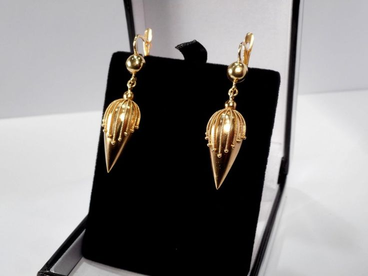 GORGEOUS 18CT GOLD VICTORIAN ETRUSCAN DROP EARRINGS