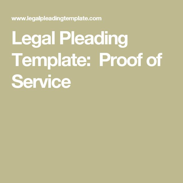 Legal Pleading Template: Proof of Service