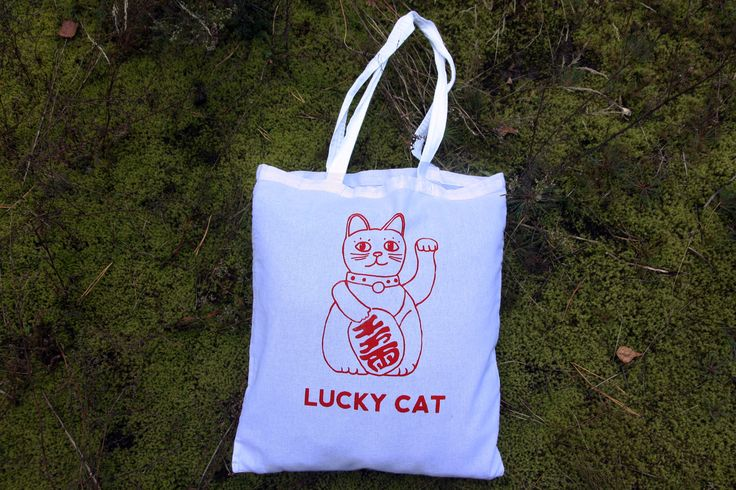 LUCKY CAT, cotton canvas tote bag for cat lover, screen print, maneki neko, red and white bag