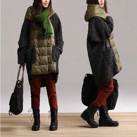 Hoodied down jacket coat knitwear coat sweater woman coat women jacket