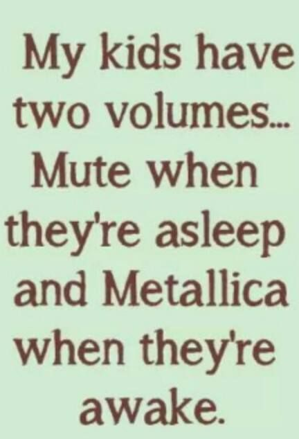 Two Volumes... Funny quote about kids and thier lack of volume controll. Love it!