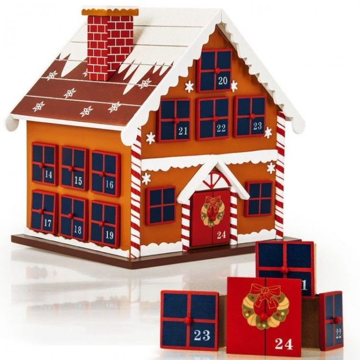 Advent Christmas Ornament Calendar Wood Kids Xmass Reusable Winter Cottage Small #AdventChristmasOrnament