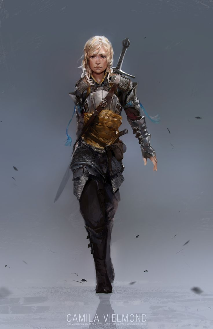 Raevna by vielmond female fighter ranger sword mercenary armor clothes clothing fashion player character npc | Create your own roleplaying game material w/ RPG Bard: www.rpgbard.com | Writing inspiration for Dungeons and Dragons DND D&D Pathfinder PFRPG Warhammer 40k Star Wars Shadowrun Call of Cthulhu Lord of the Rings LoTR + d20 fantasy science fiction scifi horror design | Not Trusty Sword art: click artwork for source