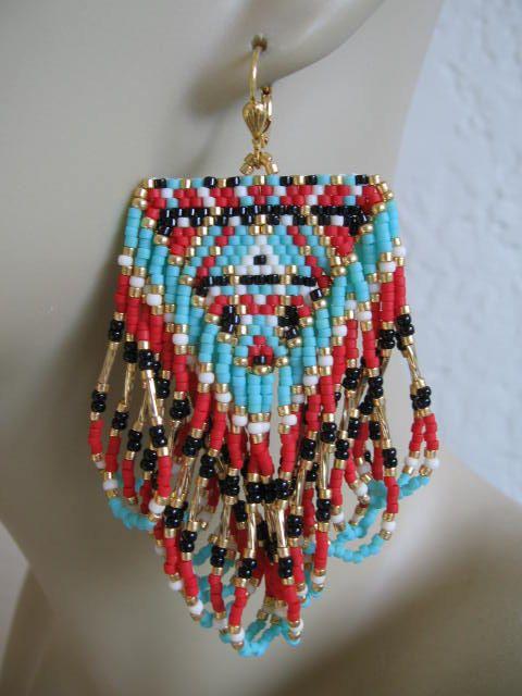 Pendientes de flecos inspirado americano nativo por pattimacs