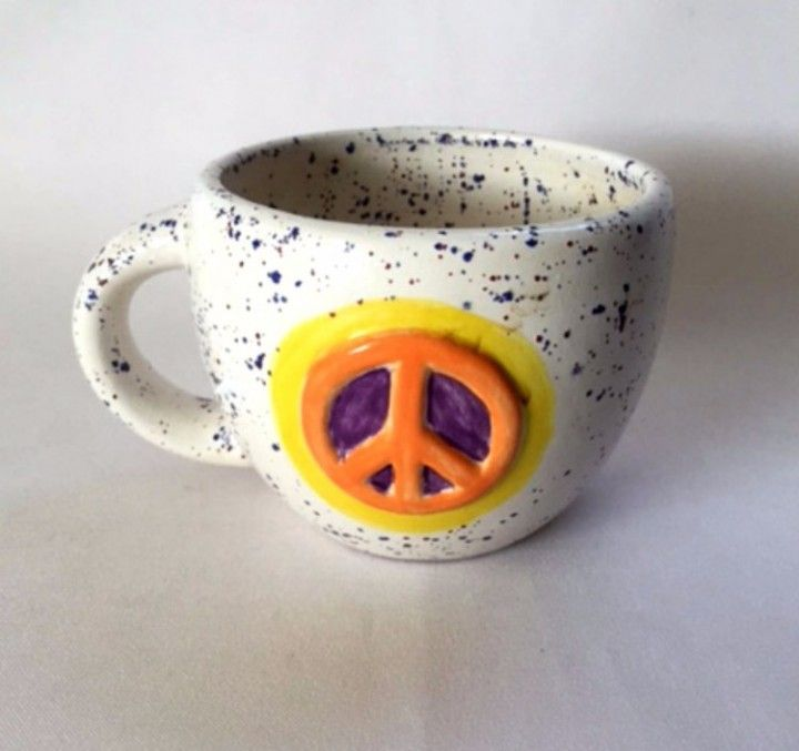Peace Sign Mug Glazed Pottery Spatterware Yellow Orange Coffee Cup