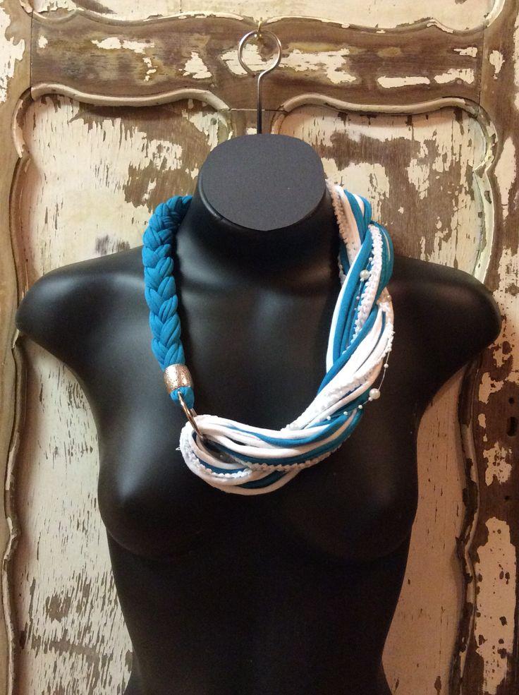 Aqua and white necklace