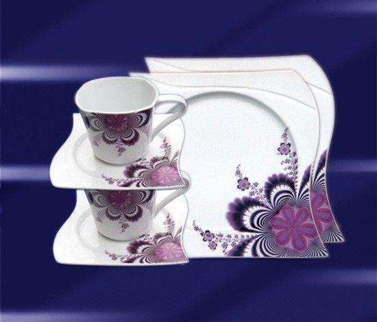 Geschirr, 73 tlg Tafelservice & Kaffeeset für 12 Personen CHARDON LILA