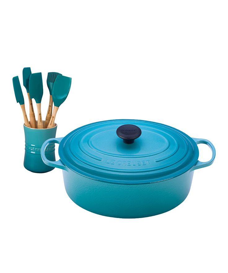 Le Creuset Caribbean Oval French Oven & Six-Piece Utensil Set   zulily