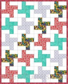 Diagram of Windmill Quilt pattern