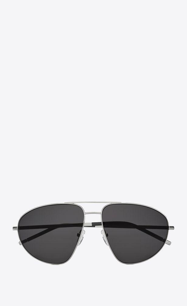 metal Classic y grises A Gafas en sol acetato v4 de lentes negro Laurent Saint plateado 21 Woman 788IqAc