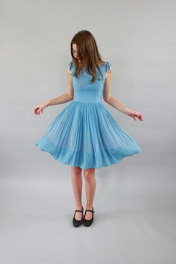 Vintage 1960s Alice in Wonderland Dress / Chiffon / Draped Back / XS/S