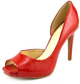 Jessica Simpson Jaselle Women Peep-toe Synthetic Red Heels.